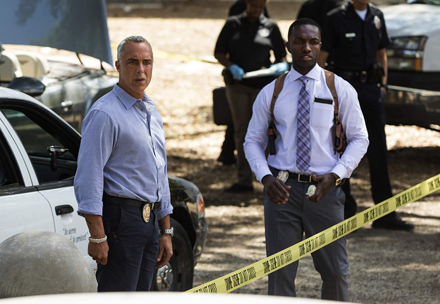 """Titus Welliver and Jamie Hector in """"Bosch"""" on Amazon Prime"""